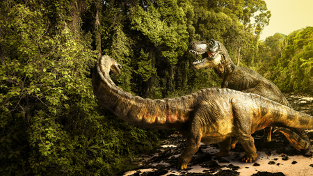 dinosaur , Tyrannosaurus with Apatosaurus  in the forest .