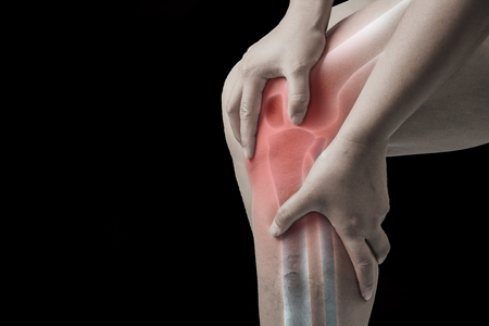 knee injury in humans .knee pain,joint pains people medical, mono tone highlight at knee .
