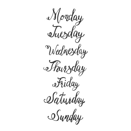 weekly calligraphy days of the week (Sunday, Monday, Tuesday, Wednesday, Thursday, Friday, Saturday)