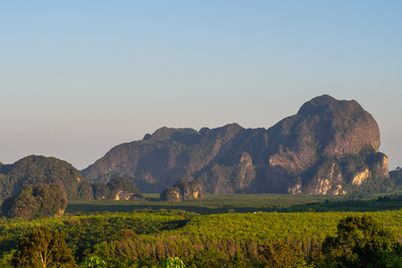 landscape Mountain with sunset in Krabi Thailand . Stock Photo
