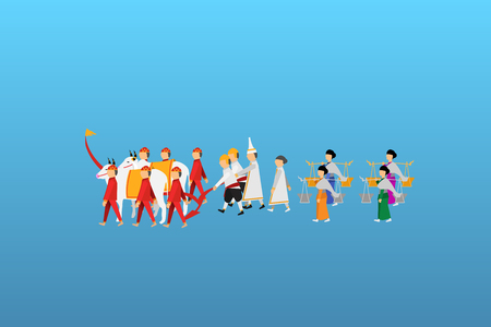 Thai sacred day, important day of Thailand, important day of agriculture of Thailand The Royal Ploughing Ceremony Day Illustration