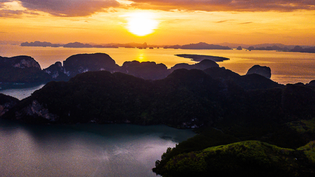 High angle  Aerial photo of  landscape sunset and  Mountain in Krabi Thailand . 写真素材