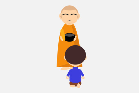 men are making merit to monks.