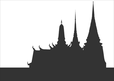 Silhouette of Thai temples The temple is unique in Thailand.