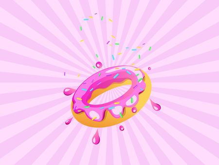 Pink donut shape On a pink background