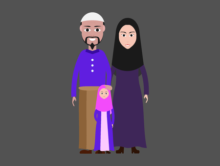 Muslim family cartoon image Islamic attire