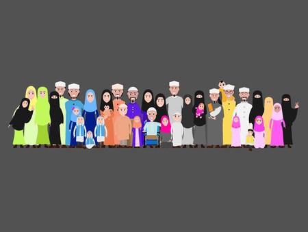 Muslim family cartoon image Islamic attire