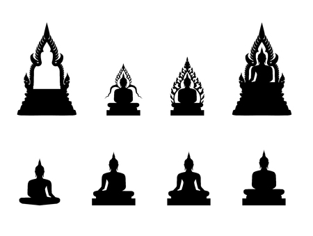 The silhouette of the Buddha image