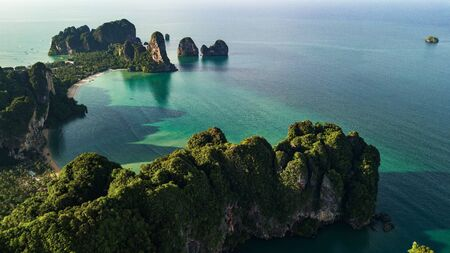 aerial view landscape of Mountain and Beach or seaside  in Krabi Thailand .