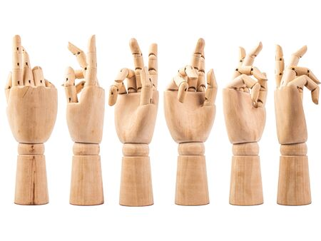 hand of wood doll make fingers to touch on white bakground . Stockfoto