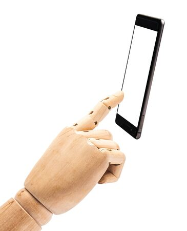 hand of wood doll make fingers to touch with smart phone on white background