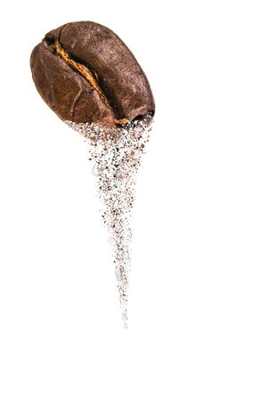 coffee bean on white background Dispersion Effect .
