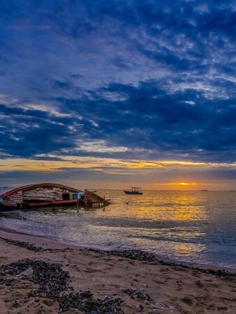 landscape of Beaches with sea and boat crashes , Pattaya Thailand . Stock Photo