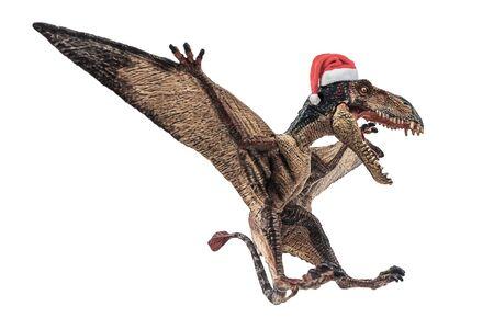 Dimorphodon Dinosaur with Christmas hat on white background  . Stock fotó