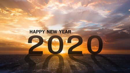 Happy new year 2020 two thousand twenty with sunset in the morning . Stock Photo