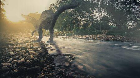 Spinosaurus ,dinosaur on small streams .