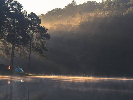 Landscapes of reservoirs and fog during the Welsh morning . Thailand 스톡 콘텐츠