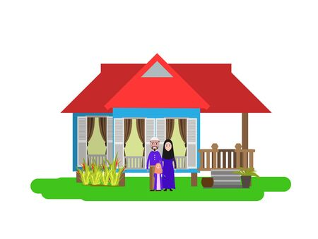 Muslim Family and home local small home on white background. Illustration