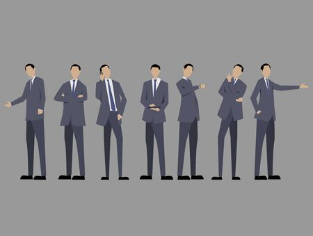 Set of business man with suit standing poses