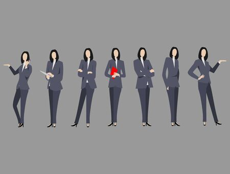 Set of business woman with suit standing poses Illustration