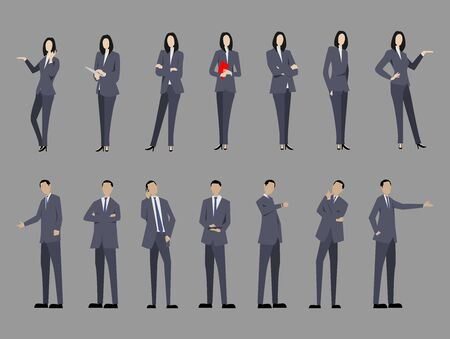 Set of business man and business woman with suit standing poses