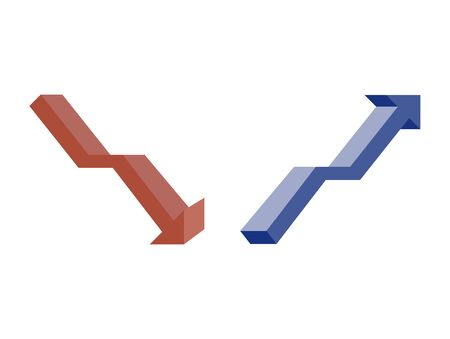 Stock Business graph Red arrow and Blue arrow ,  financial concepts