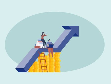 Men and women working on the up arrow ,  financial concept or Success at work concept Иллюстрация
