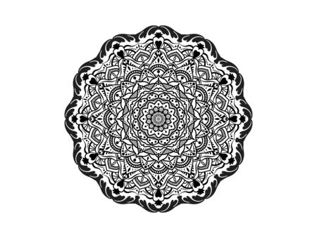 Circular pattern in form of mandala for Henna, Mehndi, tattoo, decoration. Decorative ornament in ethnic oriental style. Coloring book page. Vectores
