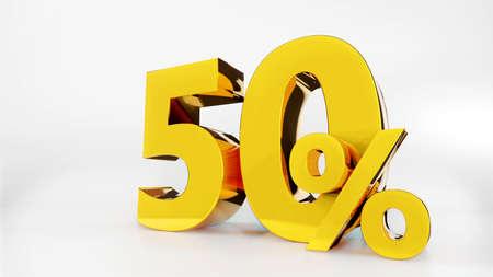 50% Golden symbol , 3D render Фото со стока