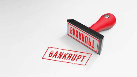 BANKRUPT rubber Stamp 3D rendering