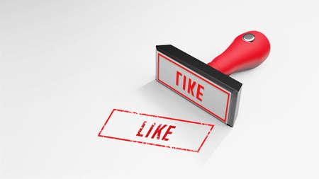 LIKE rubber Stamp 3D rendering 版權商用圖片