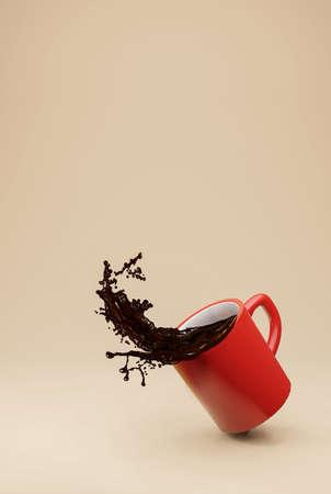 Cup for coffee , Coffee splash . 3d rendering 版權商用圖片