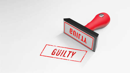 guilty rubber Stamp 3D rendering
