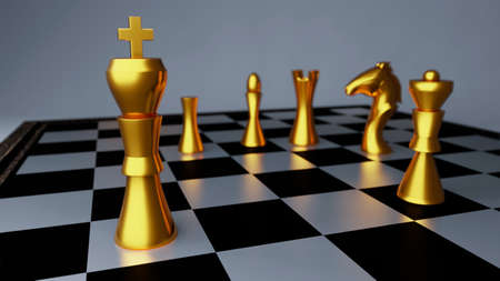 Gold chess battle,Chess victory,chess concept,3d illustration 3d rendering