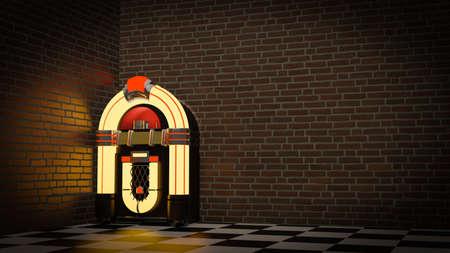 jukebox Radio old vintage , 3D rendering Foto de archivo