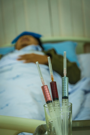 drug use: syringe with drug  use for treatment patient