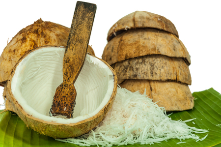 sugarplum: coconut with banana leaf use for candy, dessert,sweetmeat,sugarplum Stock Photo