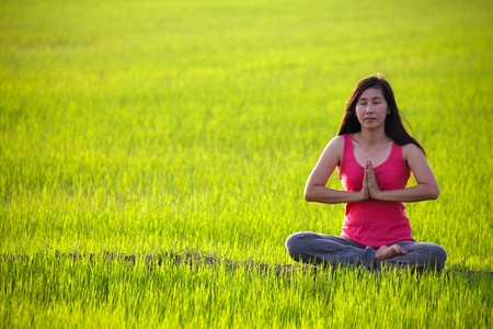 girl practicing yoga,sitting in paddy field photo