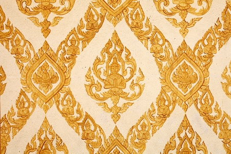 Thai traditional classic pattern on temple wall photo
