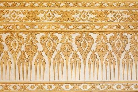 thai shape: Thai traditional classic pattern on temple wall Stock Photo