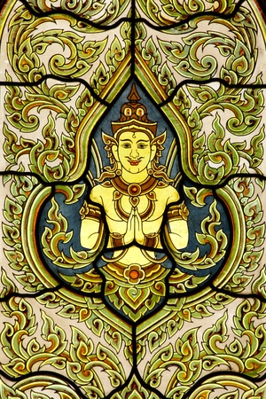 Thai Traditional Painting Glass on Temple Window