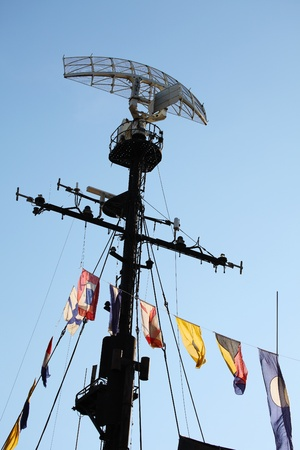 destroyer: Radar system and communication tower on a navy patrol frigate
