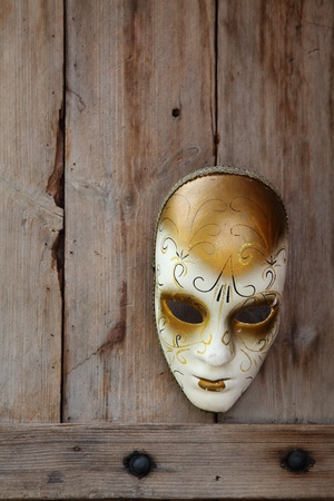 Venice carnival mask hanging on wooden door photo