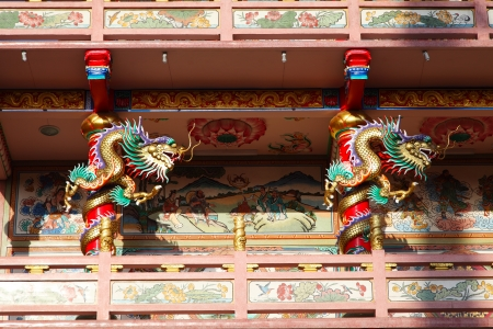 Golden dragon statue in chinese temple