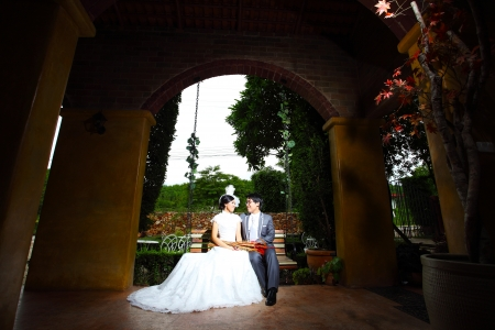 Beautiful wedding couple on swing in castle photo
