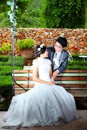Beautiful wedding couple on swing in castle Zdjęcie Seryjne
