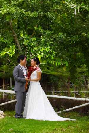 newly married couple in the park  photo