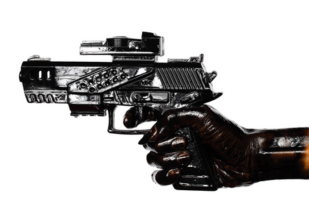 Hand Holding Gun Stained With Engine Oil Isolated On White  Zdjęcie Seryjne