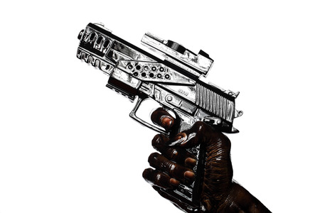 Hand Holding Gun Stained With Engine Oil Isolated On White Zdjęcie Seryjne - 25510294
