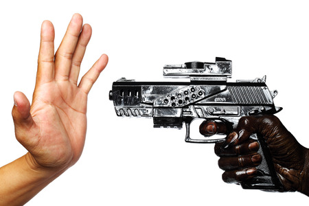 Hand With Gun Stained With Engine Oil Pointing To Empty Hand